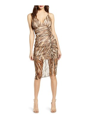 Socialite animal print ruched mesh body-con dress