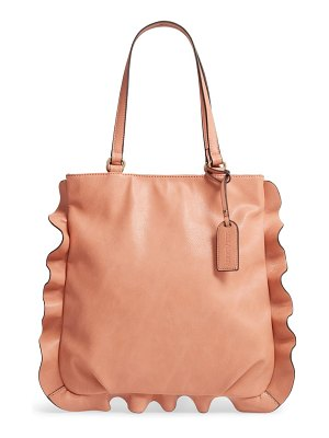 Sole Society arwen ruffle trim faux leather tote