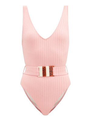 Solid & Striped the michelle belted ribbed-jersey swimsuit