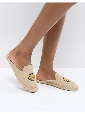 Soludos Beige Espadrille Mules With Bee Embroidery