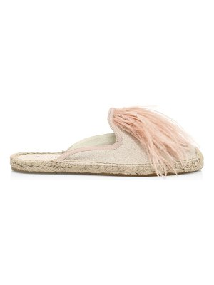 Soludos feather-trimmed espadrille mules