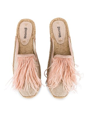 Soludos feathers mule