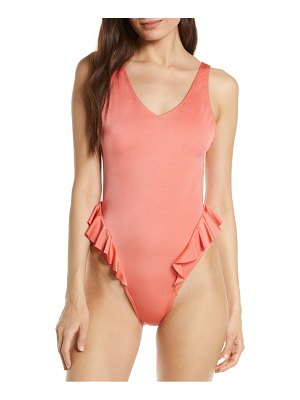Something Navy frill one-piece swimsuit