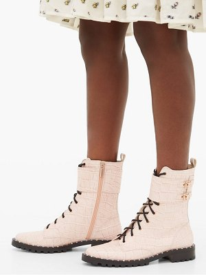 Sophia Webster bessie crocodile effect leather combat boots