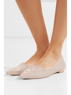 Sophia Webster bibi butterfly embroidered glittered leather point-toe flats