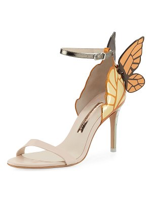Sophia Webster Chiara Mid-Heel Embroidered Butterfly Sandals