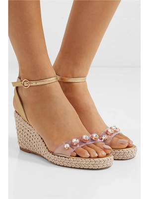 Sophia Webster dina embellished pvc and metallic leather espadrille wedge sandals