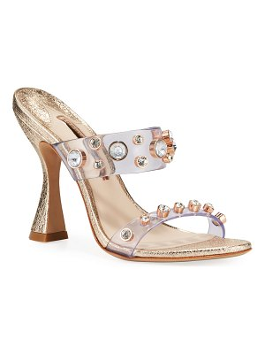 Sophia Webster Dina Gem Metallic Mules