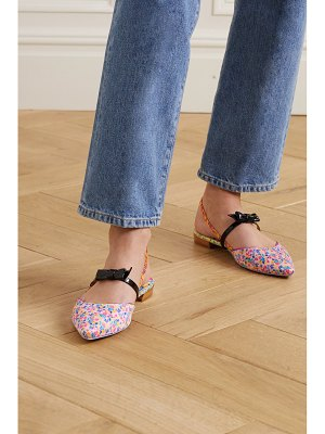 Sophia Webster laurellie floral-print satin and patent-leather slingback point-toe flats