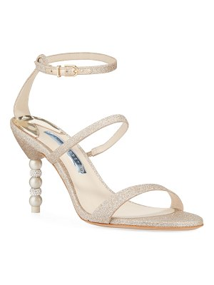 Sophia Webster Rosalind Glitter Mid-Heel Crystal Pearly Sandals