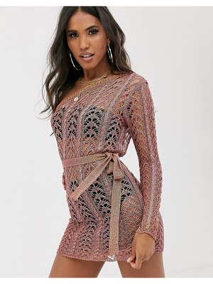 SORELLE uk one shoulder knitted shimmer mini dress in rose gold-pink