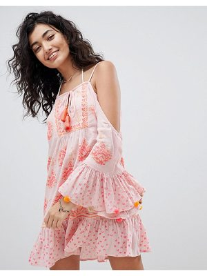 SOUTH BEACH Beach Dress With Fluted Sleeve