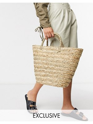 South Beach exclusive clean straw tote bag-beige