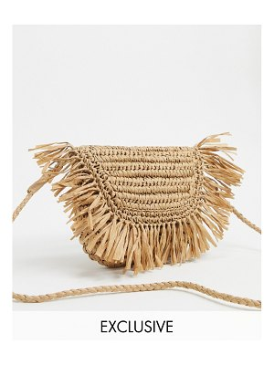 South Beach exclusive half moon frayed straw clutch bag with detachable strap-beige