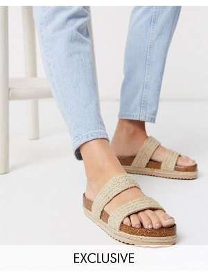South Beach exclusive raffia double strap slide sandals in natural-beige