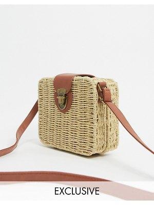 South Beach exclusive rattan cross body bag in natural-beige