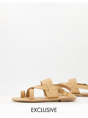 South Beach flat sandals with toe loop in natural-neutral