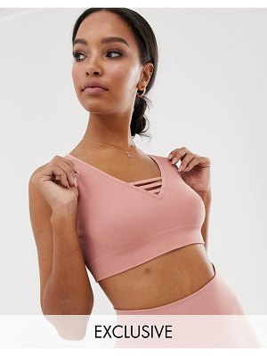 South Beach lattice detail bra top in rose