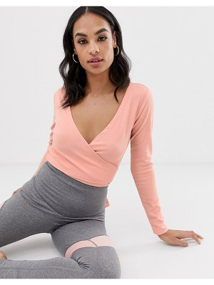 South Beach pink rib dance wrap bodysuit