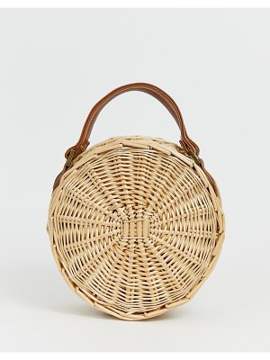 South Beach round straw beach bag with cross body strap