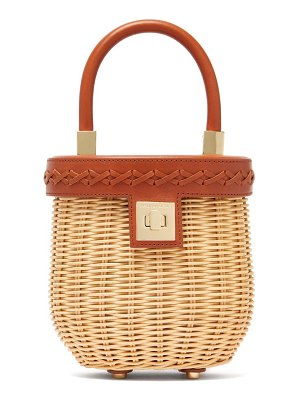 Sparrows Weave top-handle leather and wicker bucket bag