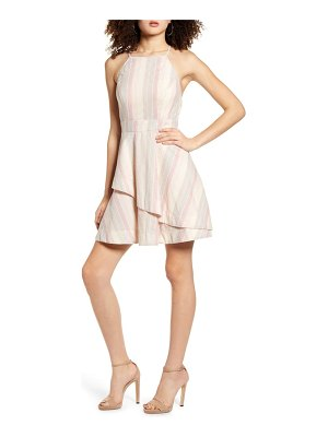 Speechless pastel stripe halter neck cotton blend minidress