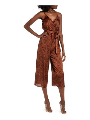 Speechless ruffle trim belted jumpsuit