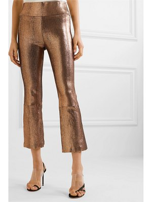 SPRWMN cropped metallic leather flared pants