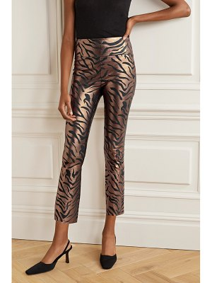 SPRWMN cropped metallic zebra-print leather flared pants
