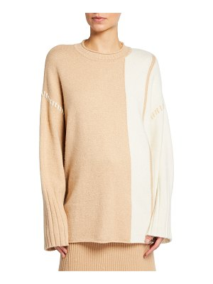 St. John Colorblock Cashmere-Blend Sweater