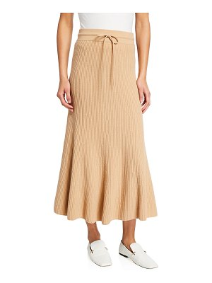 St. John Dune Ribbed Wool-Cashmere Skirt