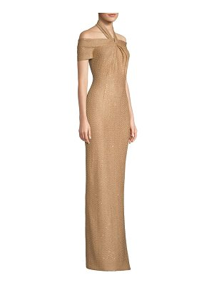 St. John glamour sequin knit cold-shoulder gown