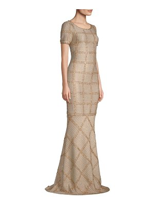 St. John metallic plaid gown