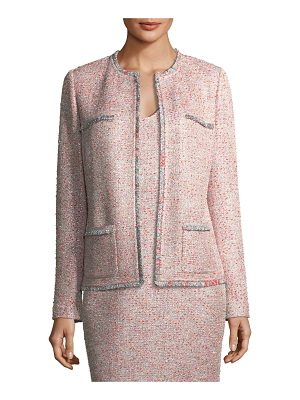 St. John Metallic Tweed Jacket w/ Eyelash Trim