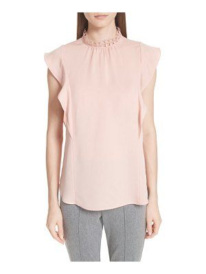 St. John ruffle double silk georgette top