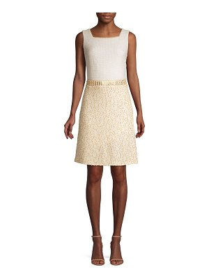 St. John threaded pique contrast a-line dress