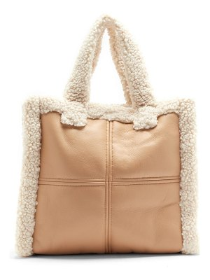 Stand Studio lolita faux-shearling and faux-leather tote bag