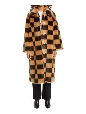 Stand Studio nino long checkerboard faux fur coat