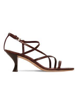 STAUD 60mm gita croc embossed leather sandals