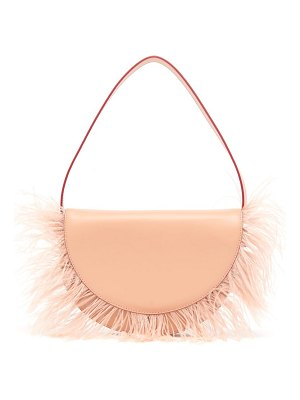 STAUD amal feather-trimmed leather shoulder bag