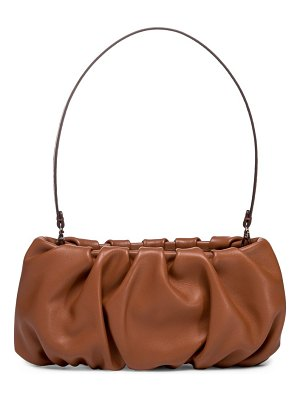 STAUD bean ruched leather shoulder bag