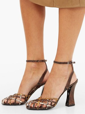 STAUD charlie snake-effect leather sandals