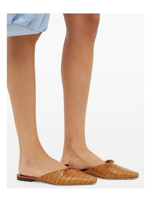 STAUD gina crocodile-effect leather backless loafers