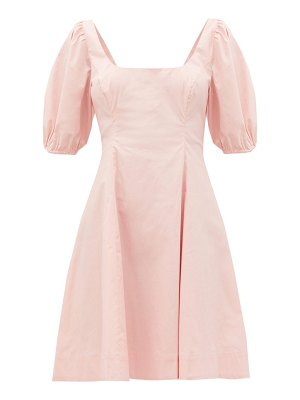 STAUD laelia balloon-sleeve cotton-blend poplin dress