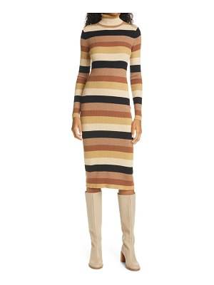 STAUD lisa stripe ribbed turtleneck long sleeve midi dress