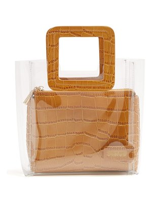 STAUD mini shirley leather & pvc tote bag