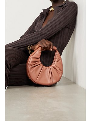 STAUD moon mini ruched leather tote