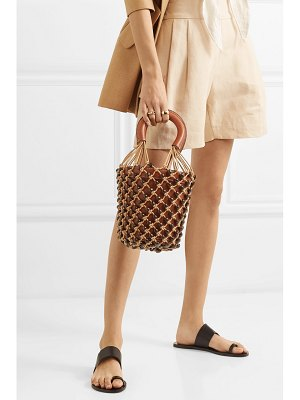 STAUD moreau leather and beaded macramé bucket bag
