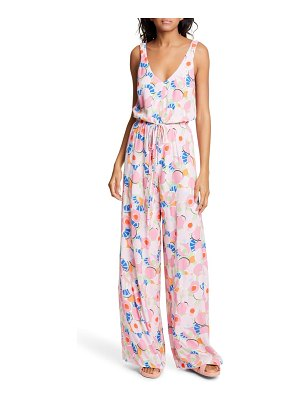 STAUD print sleeveless wide leg jumpsuit