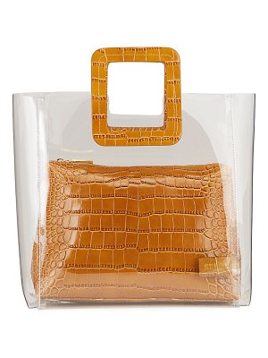 STAUD Shirley Clear PVC and Crocodile-Embossed Tote Bag